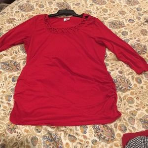 Two hearts maternity red top